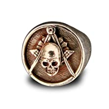 buy Freemason Ring Skull And Compass Masonic Order In Bronze - Size 11