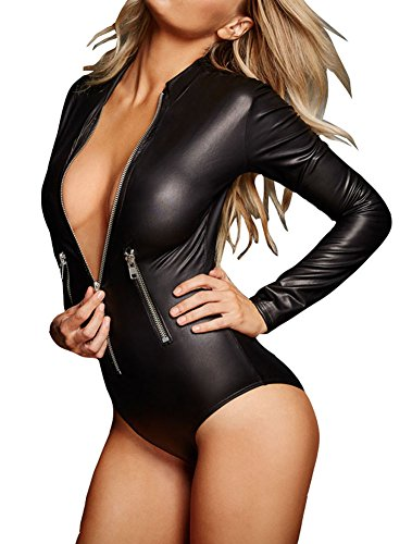 sexy-womens-black-leathery-long-sleeve-zip-detail-bodysuit-l-black
