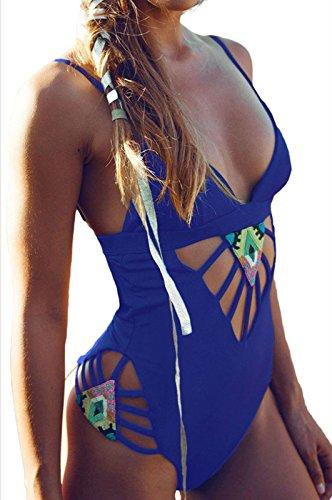 Yonas Women's Tassel Bikini High Neck Halter Tankini Swimsuit(SIZE L/BLUE)