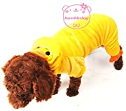 SMALLLEE_LUCKY_STORE Pet Cat Dog Yellow Duck Hoodie Velvet Pajamas Jumper Small Dog Clothes Costumes XS