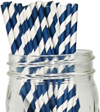 Striped Paper Straws 25pcs Navy -Just Artifacts Brand