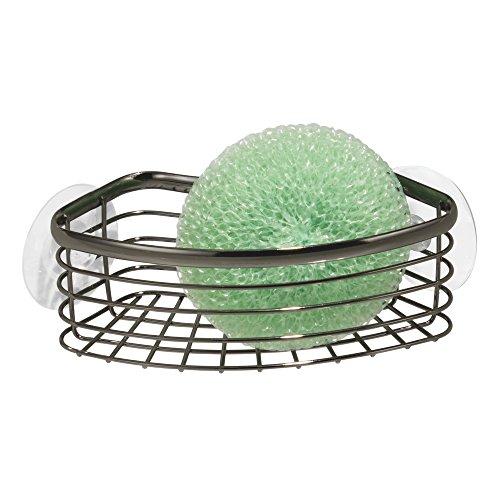 mDesign Corner Sink Storage Basket for Sponges, Scrubbies - Black/Chrome