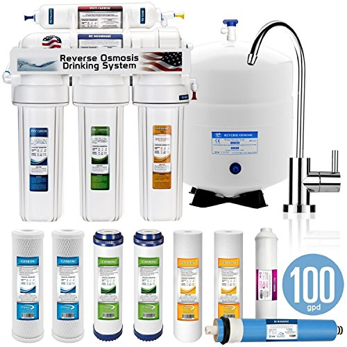 Express Water 5 Stage Home Drinking Reverse Osmosis System 100GPD MODERN Chrome Faucet PLUS set of 4 extra filters (Reverse Osmosis Water Filtration compare prices)