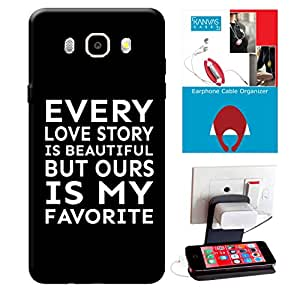 Samsung Galaxy J7 2016 Edition Accessories Combo, Premium Quality Designer Printed 3D Lightweight Slim Matte Finish Hard Case Back Cover for Samsung Galaxy J7 2016 Edition + Free Earphone Cable Organizer + Mobile Charging Holder/Stand