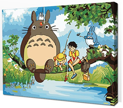 Diy oil painting, paint by number kit- My Neighbor Totoro 16*20 inch.