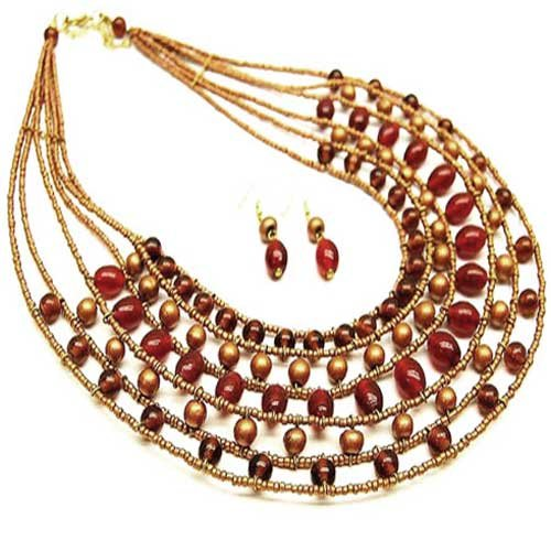 Egyptian Inspired Red Multi-strand 20 Inch Necklace Set