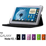 GMYLE Black PU Leather 360 Degree Rotating Swivel Folio Case Cover With Adjustable Multi Angle Stand For Samsung Galaxy Note 10.1 N8000 Tablet
