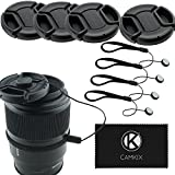 Lens Cap Bundle - 4 Snap-on Lens Covers for DSLR Cameras including Nikon - Canon - Sony - Lens Cap Keepers included (49mm)