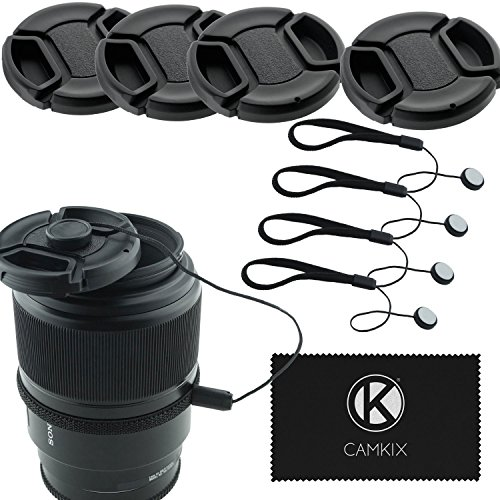 Lens Cap Bundle - 4 Snap-on Lens Covers for DSLR Cameras including Nikon, Canon, Sony - Lens Cap Keepers included (58mm) (Dslr Lense Cap compare prices)