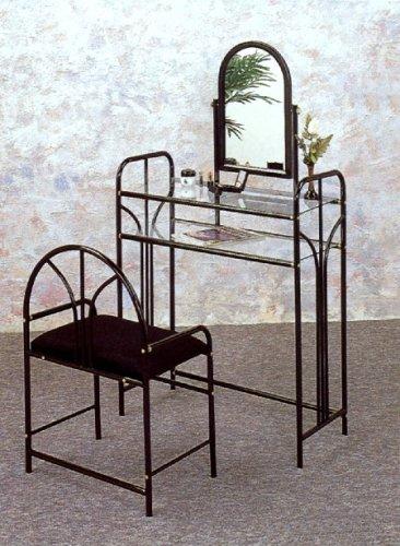 Coaster Vanity Table Mirror and Stool/Bench Set, Glossy Black Finish Metal