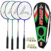 Guru Kevler(Composit) BR02 COMBO-03 Badminton Racket Set Pack Of Four With Four Cover & 6 Shuttlecock Size: 27...