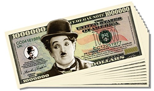 Charlie Chaplin Million Dollar Bill - 10 Count with Bonus Clear Protector & Christopher Columbus Bill