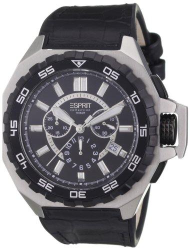 Esprit EL101011F02 - Reloj cronógrafo de cuarzo para hombre, correa de cuero color negro