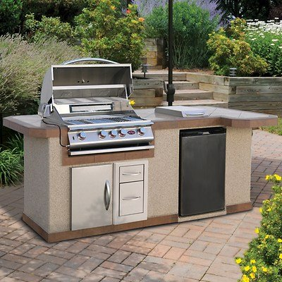 State of the Art Outdoor Kitchen Porcelain Tile Barbecue BBQ Grillin Island with 60 K BTU Gourmet 4-burner Gas Grill, 15k BTU Side Burner and 4.6 Cu Ft Stainless Steel Refrigerator. Entertain in Style This Summer! (Cal Flame Fridge compare prices)