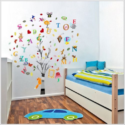 Walplus Children Nursery Decal Paper Combo Education Alphabet Animal Tree Wall Stickers