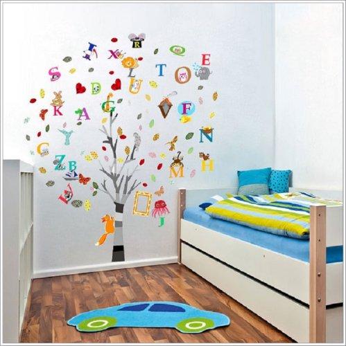 Walplus Children Nursery Decal Paper Combo Education Alphabet Animal Tree Wall Stickers