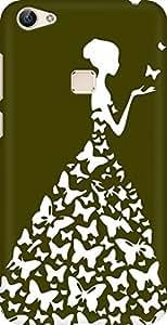 AMEZ designer printed 3d premium high quality back case cover for Vivo X6 (mehendi green white girl princess)