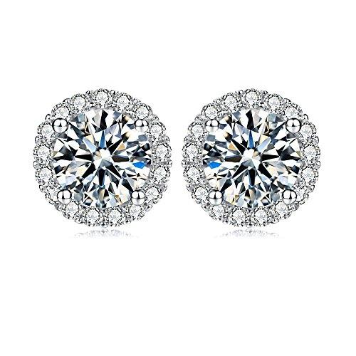 jewel-encrusted-simulated-diamond-sterling-silver-stud-earrings-ladies-micro-pave-halo-disc-earrings