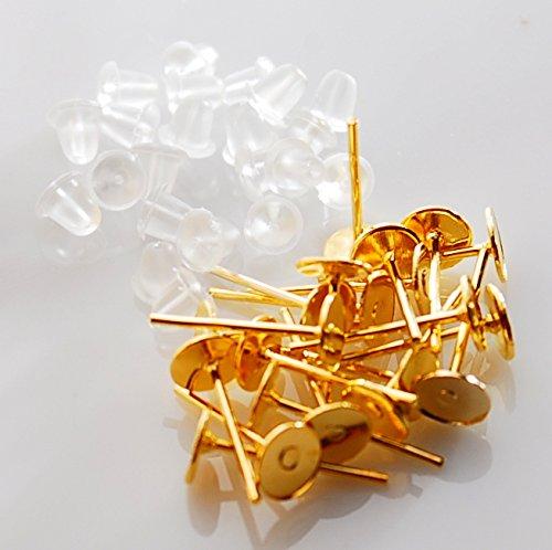 丸皿タイプ ピアス 【 ゴールド 】 10ペア シリコンキャッチ付 台座付 パーツ金具 アクセサリー パーツ パウダートレーディング