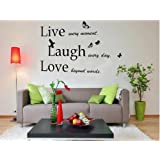 "Walplus (TM) ""Live Laugh Love"" Quotes Wall Stickers - Home Decoration, 100cm x 60cm, PVC, Removable, Transparent Borders, Self-Adhesive, Black"