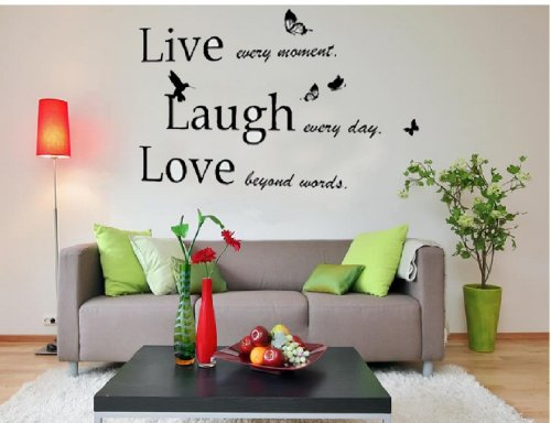 Walplus Large Live Laugh Love Wall Stickers Art Mural Quote Wallpaper Living Room Decals