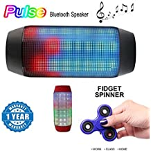 Xiaomi Mi Note 2 Compatible Certified Pulse Series Portable Bluetooth Usb/Tf Pulse Speaker Colorful Led Lights With New Fidget Hand Spinner For Fun, Anti-Stress, Focus, ADHD, Anxiety & Autism(1 Year Warranty)