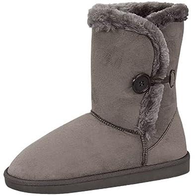 "Womens 10"" Tall Mid Calf Boots 1 Button Faux Sheepskin Fur Shearling 3 Colors (7, Grey 91055)"