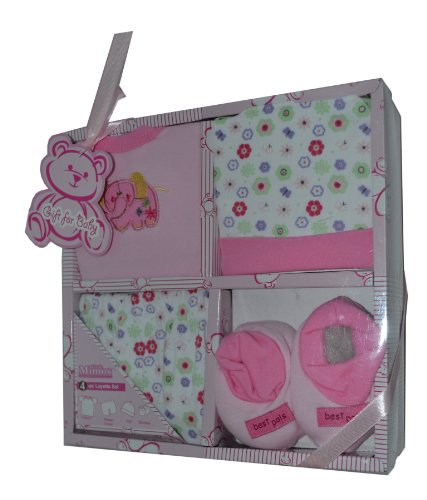4-pc Layette Baby Gift Set (Light Pink)