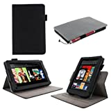 "rooCASE Amazon Kindle Fire 7 Case - (2011 Non-HD Previous Generation) Dual View Multi Angle Tablet 7-Inch 7"" Stand Cover - BLACK"