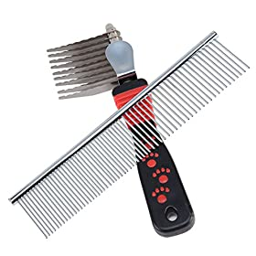 Dog Comb, SySrion? Pet Grooming Comb Tool - Dog Rake Comb Trimmer Stainless Steel Dog Comb with High Quality