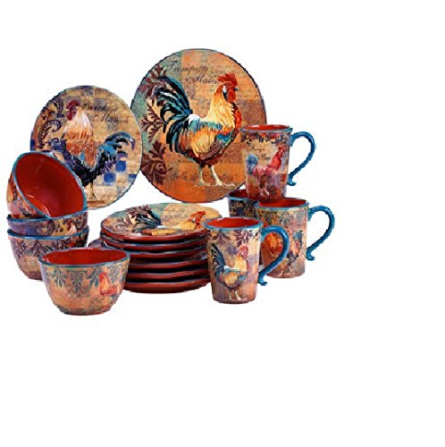 Certified International Rustic Rooster 16-pc Dinnerware Set (Chicken Dinnerware compare prices)
