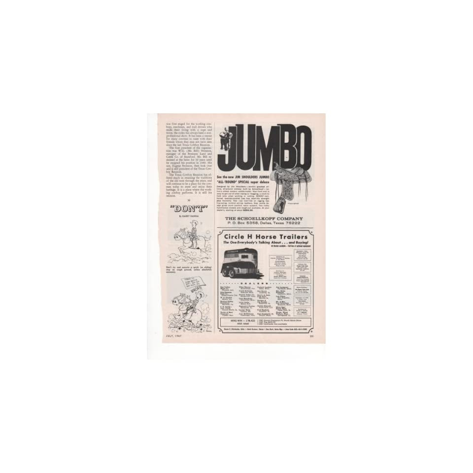 Jim Shoulders Jumbo All Round Special Super Deluxe Western Saddle Schoellkopf Company Circle H Horse Trailers 1967 Farm Antique Advertisement