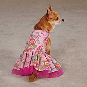 Zack & Zoey UM298 14 75 Spring Garden Dress for Dogs, Small/Medium, Begonia Pink