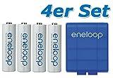 4 pièces Panasonic eneloop pile AA BK-3MCCE avec boîte de rangement bleu de eneloop....