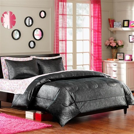 Mizone Glitter Reversible Printed Plush Comforter Mini Set - Black - Full/Queen front-562453