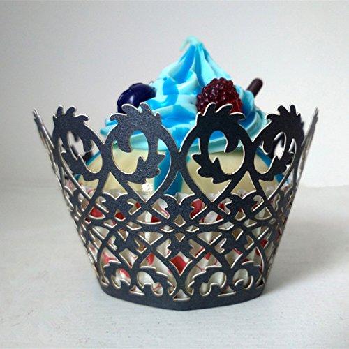 50pcs Papel Envoltura de Magdalena Torta Pastel Cupcake Decoración Envase Negro (No.1)