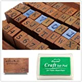 1 Set of 70pcs Vintage Style Wooden Rubber Alphabet Letters Number Stamps + 1 Dark Green Ink Pad