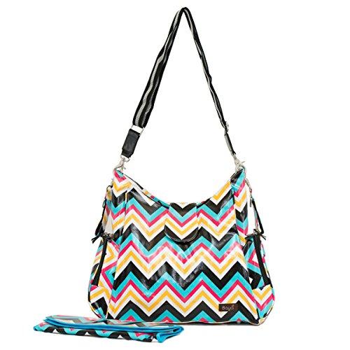 Baya Collections - Messenger Diaper Bag - Chevron Multicolor front-333051