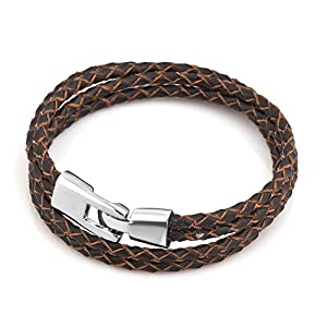 Isajewelry Brown Leather Bracelets For Men With Stainless Steel Clasp from Isajewelry