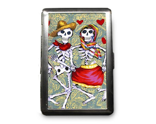 Day of the Dead Skeletons Decorated ID Cigarette Case Wallet - CD251
