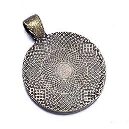 FUNLAVIE 100 pcs Round Shape Lace Antique Bronze Pendant Tray Base 25mm Cabochon