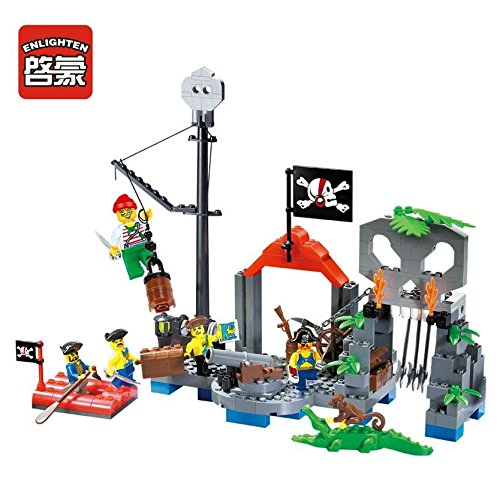 Enlighten-Simple-Package-Pirate-Series-Building-Bricks-Skull-Village-Building-Blocks-Set-for-Kids-with-mini-figure-Corsair-Villa-Boat-Ship-Toy-206-pieces