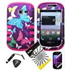 4 items Combo: ITUFFY LCD Screen Protector Film + Mini Stylus Pen + Case Opener + Purple Pink Green Yellow Blue Multi Color Butterfly Design Rubberized Hard Plastic + Soft Rubber TPU Skin Dual Layer Tough Hybrid Case for Samsung Galaxy Centura S738C / Samsung Galaxy Discover S730G (Straight Talk / Net10/ TracFone)