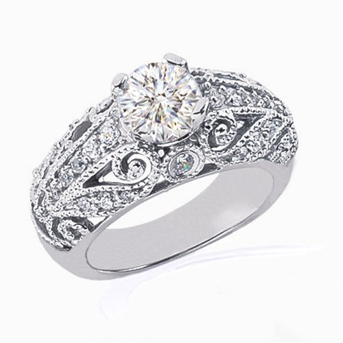 1.50 Ct Round Diamond Engagement Ring Vintage Micropave