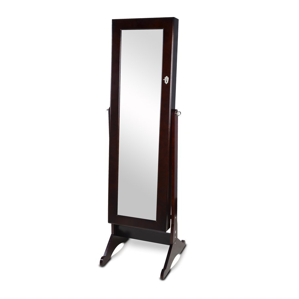 Organizedlife brown mirrored jewelry armoire cheval floor for Floor standing mirrored bathroom cabinet