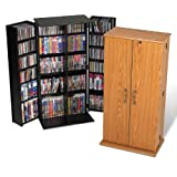 Tall Locking Media Storage Cabinet Oak