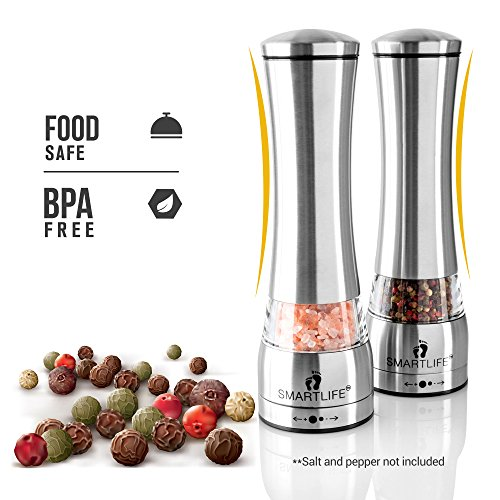 Food Safe 18/8 Stainless Steel BPA Free- Salt And Pepper Grinder Set- Large Capacity 6 OZ Salt and Pepper Shakers-Spice Grinder-Pepper Grinder-Salt and Pepper Mill With Ceramic Adjustable Coarseness (Ceramic Sea Salt Grinder compare prices)