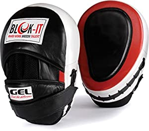 GEL Focus Mitts : By BLOK-IT --- [Focus Pads, Punch Mitts, Hook & Jab Pads] --- Suitable For Boxing, MMA, Thai Boxing, Kickboxing, Boxercise, Karate, Taekwondo, Krav Maga, Wing Chun & Other Martial Arts