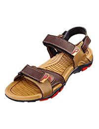 VKC Men's Brown Synthetic Leather Sandals