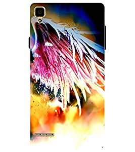 Chiraiyaa Designer Printed Premium Back Cover Case for OPPO F1 (feather colorful) (Multicolor)